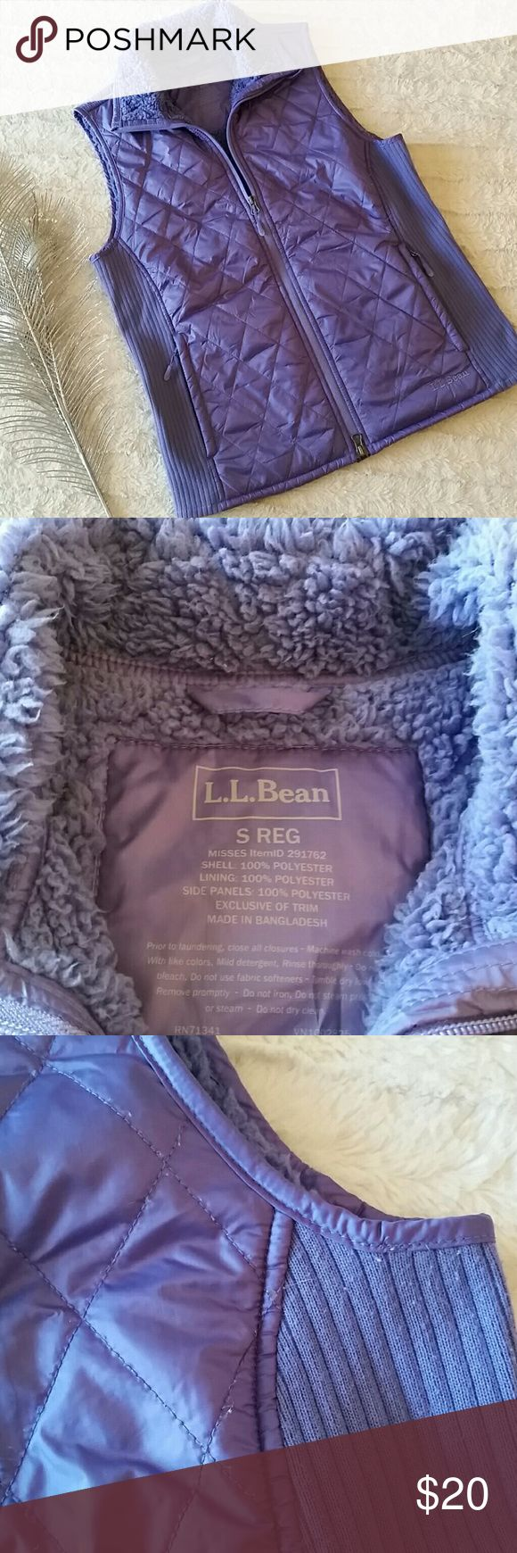 L.L. Bean Purple Zip Up Vest Perfect for the upcoming seasons. Good for everyday or a hike! Quilted front with fleece lining, side pockets. Gently used but still in good shape!   Laying flat measures approximately:  Bust 18.5 inches  Length 24 inches  Open to reasonable offers. Bundle and save! L.L. Bean Jackets & Coats Vests