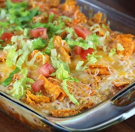 Dorito Chicken Casserole - chicken, taco seasoning, Doritos, cheese, lettuce and tomato
