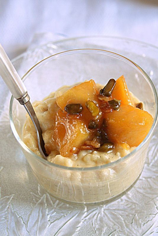 Honey Vanilla Rice Pudding with caramelized apples