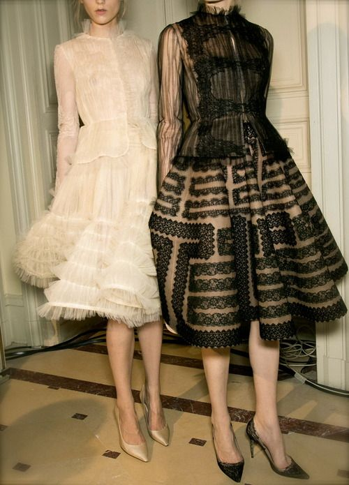 Backstage at Valentino Spring/Summer 2013 Couture at Paris Fashion Week.