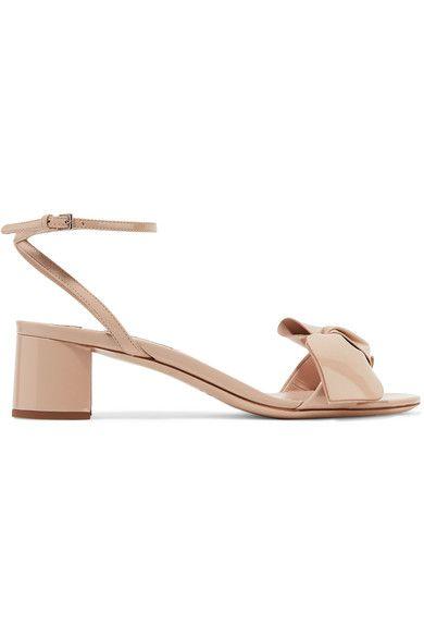Miu Miu - Bow-embellished Patent-leather Sandals - Beige - IT41.5