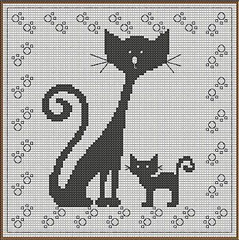 Cross-stitch Cat with Flowers.. no color chart available, just use the colors on pattern chart as your guide.