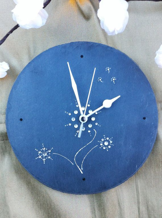 Handcrafted slate wall clock  unique designs by LittlehandClocks, £29.99