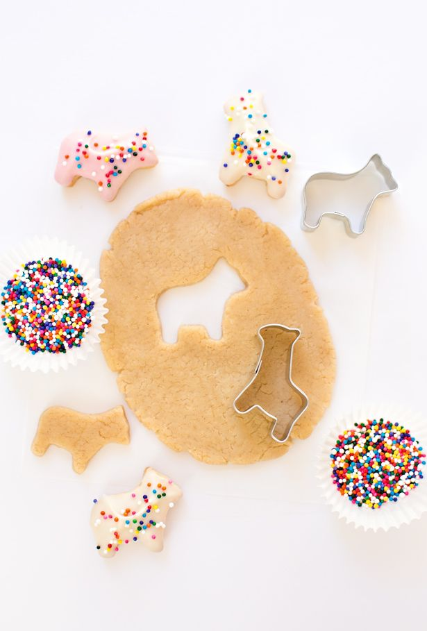 Homemade frosted animal cookies
