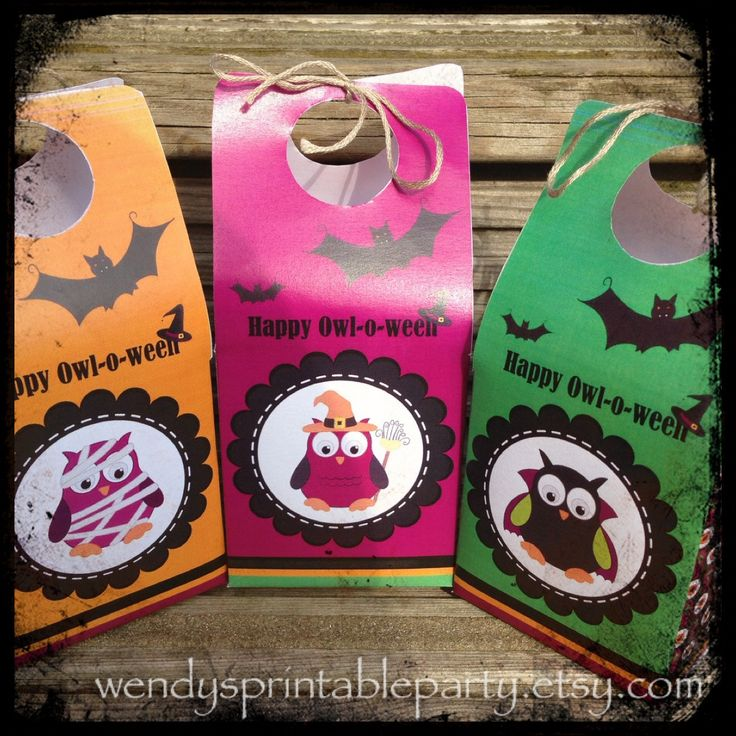 INSTANT DOWNLOAD - Set of 3 Cute Happy Owl-O-Ween Themed Halloween Treat Boxes / Favor Boxes (Printable & DIY) by WendysPrintableParty on Etsy