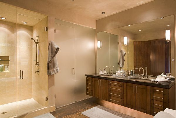 Modern bathroom lighting with under cabinet lamps by Robin Miller