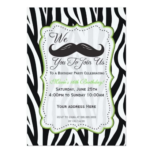 120 best images about Mustache Birthday Party Invitations – Zebra Party Invitations