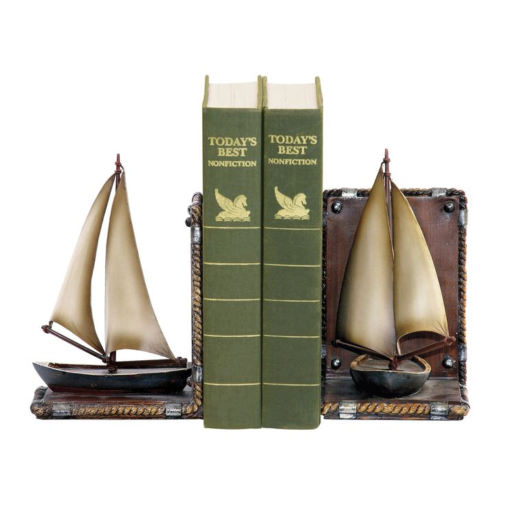 Sterling Pair Sailboat Bookends. Item Number: 91-3907 Item Class: Accessories. Product Type Bookend. Product Style: . Product Collection: Sailboat Product Dimensions: 8.5 in. H x 10 in. W x 5 in. L Pr