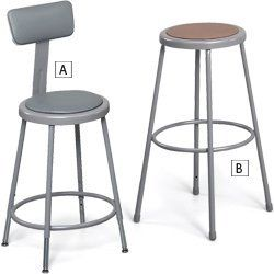 "Economical Shop Stools - Letter B only, 18""H without the back by C $42.20. Economical Shop Stools are ruggedly built for lasting service in industrial and shop applications. Frame is electrically seam welded 18-ga., 7/8"" O.D. tubular steel. Cross-braced legs are welded into a single unit. Tubular footrest ring has four spot-welds at each connection for increased rigidity. Optional cushioned back adjusts 2"" horizontally and vertically. (A) adjustable-height stools have ..."