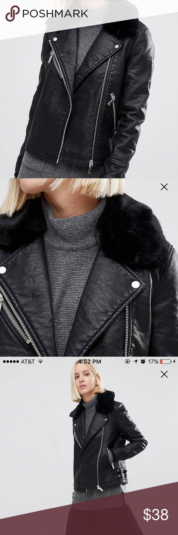ASOS Leather Jacket with Faux Fur lining ASOS Leather Jacket with Faux Fur lining, never worn, tags off. bought for $60!! Size US 4 but honestly fit like a US 0, would recommend to a size 0 or a small 2!!! ASOS Jackets & Coats