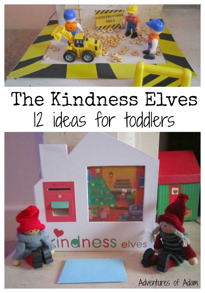 The Kindness Elves - 12 ideas for toddlers and preschoolers.  An alternative to Elf On The Shelf, the Kindness Elves promote kindness and helpfulness in the lead up to Christmas.