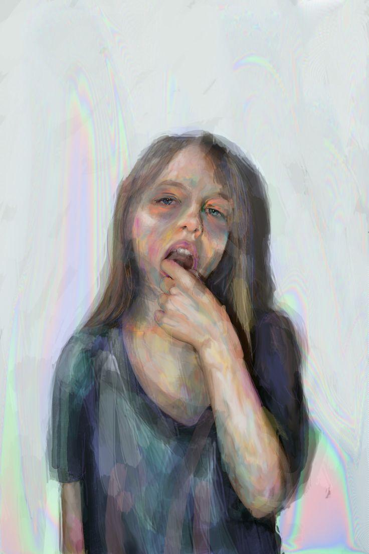 Dominika Ďurechová - Sister´s portrait - digital illustration (wacom tablet, Photoshop)