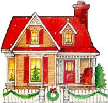 Huis met rood dak en wit hek
