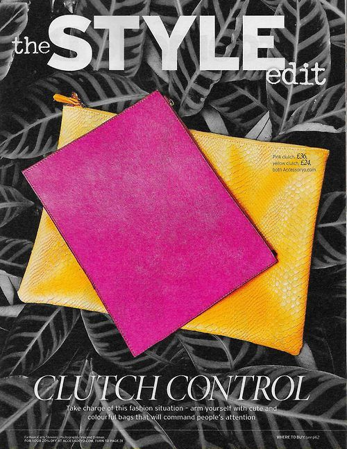 The #Style Edit - Clutch Control! #Notebook magazine showcases their best clutch bags from #Accessoryo's new season range. The on trend textured pony hair pink and the crocodile skin yellow pouch! Get 15% off with discount code: PIN15!