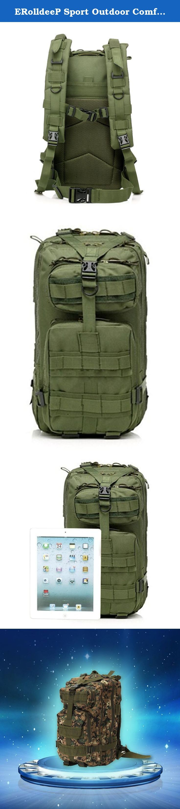 ERolldeeP Sport Outdoor Comfortable Waterproof Assault Pack Military Rucksacks Tactical Molle Backpack Hiking Backpack Hiking Daypack Camping Hiking Trekking Climbing Bag 25L-30L for boys kids. The pack offers a great amount of carrying space and is perfect for military as well as camping hiking and other outdoor activities. This pack is made of a strong nylon construction. Able to withstand daily use in any outside condition. Includes numerous double stitched Molle system so you can add...
