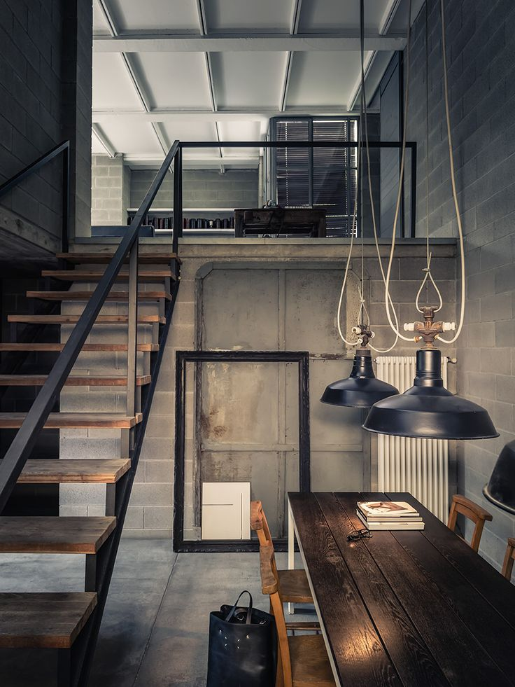DEEP CONCRETE SHADOWS Private House Industrial Interior DesignIndustrial