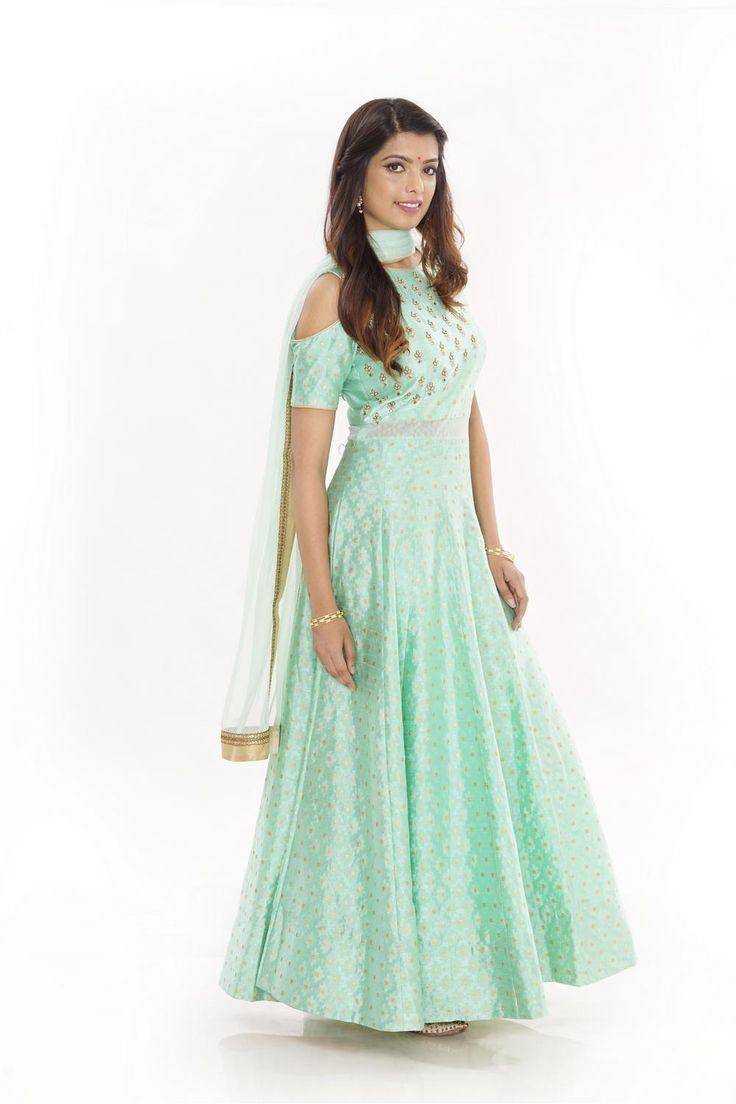 Anarkali, Designer Sea Green Floor Length Anarkali