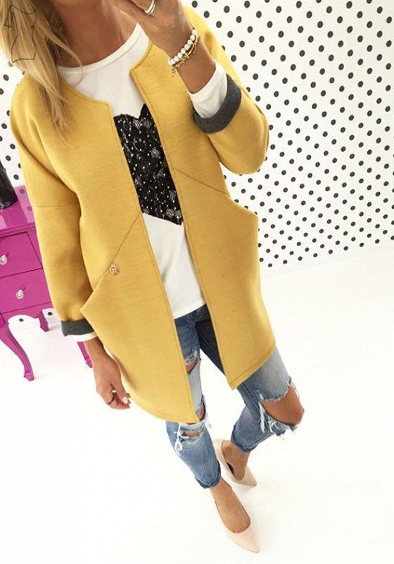 Yellow Plain Pockets Round Neck Long Sleeve Casual Coat