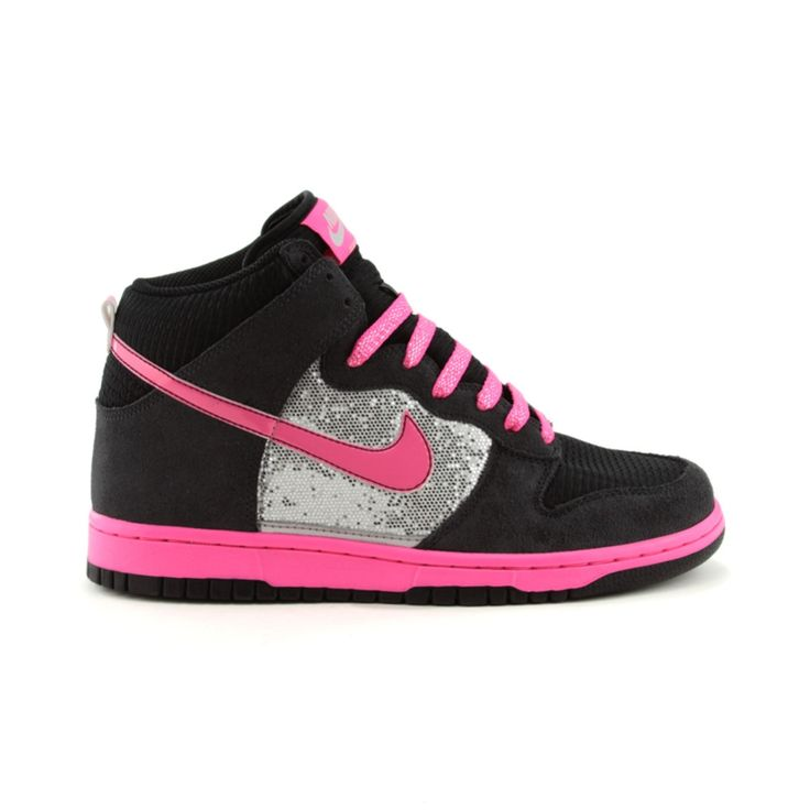 Womens Nike Dunk High Athletic Shoe, Black Silver Pink, at Journeys Shoes.