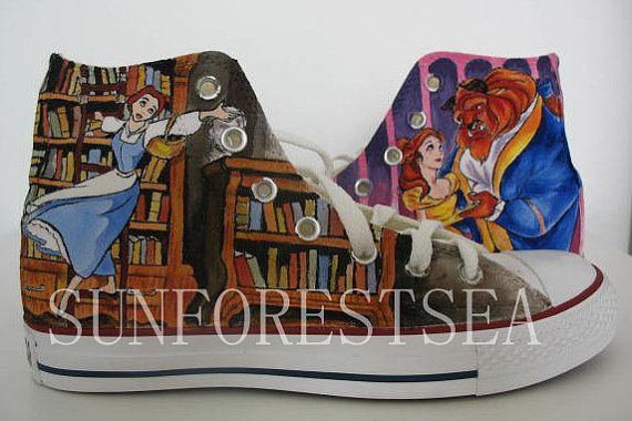Beauty and the Beast Custom/converse/hand painted by SUNFORESTSEA, $99.00