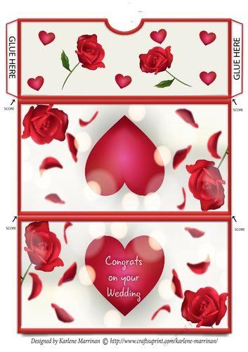 Love Heart Voucher/Money Wallet/Pocket Envelope - Congrats on your Wedding by Karlene Marrinan Print onto 250 GSM cardstock or photopaper.…
