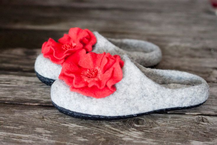 Grey felted slippers with coral flowers sheep wool home shoes wool clogs women shoes embroidered shoes Mother day gift handmade to order by AureliaFeltStudio on Etsy