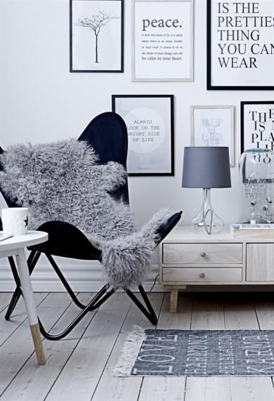 This is an idea I have for a chair in the livingroom, only switching the chair in the picture for an Arka pin-chair (by swedish designer Yngve Ek) in a glossy black finish! <3
