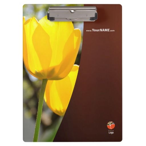 Nature clipboard with yellow tulips.  Customizable text and logo on both sides.