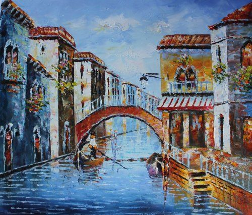 0265 100% Hand Painted Oil Painting Venice Gondola Boat River Painting Wall Art for Home Decoration