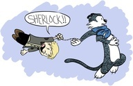 Calvin and Hobbs as Sherlock and Watson