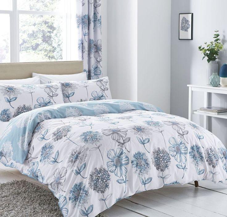 Catherine Lansfield Banbury Floral Blue Duvet Cover Set Single Double King Size