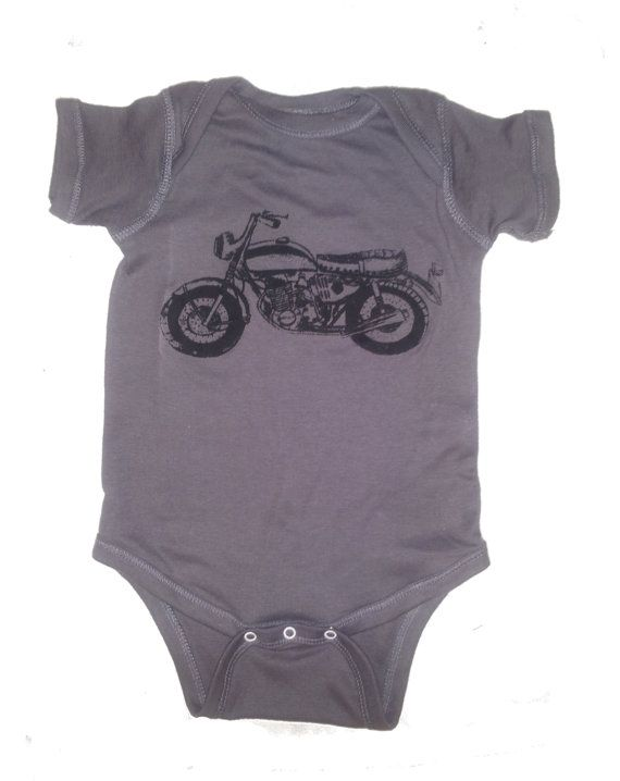 Baby Motorcycle Onesie Bodysuit 20 Colors by FreeBirdCloth on Etsy, $16.00