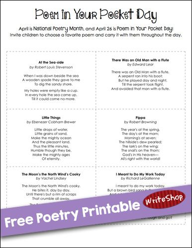 Free printable with 9 delightful, kid-friendly poems to clip or memorize. Perfect for Poem in Your Pocket Day!