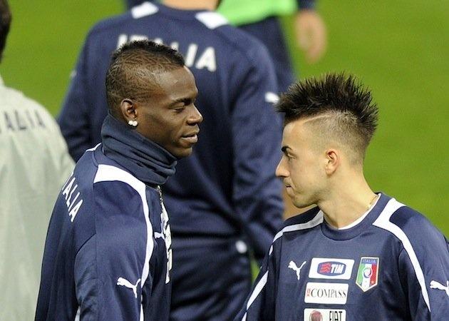 Mario Balotelli and Stephan El Shaarawy have wacky-hair showdown at Italy training