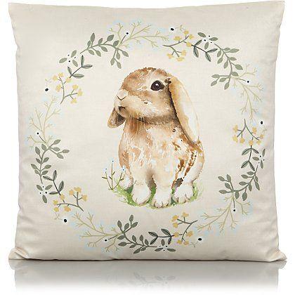 Natural Bunny Print Cushion   Home & Garden   George