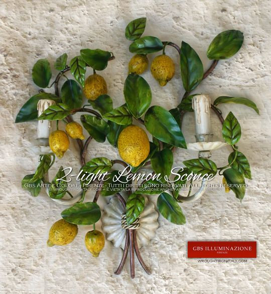 Country Chic 2-light Lemon wall Sconce GBS Illuminazione – Ferro Battuto – Wrought Iron – GBS Arte e Colore