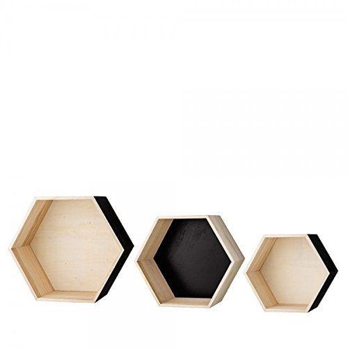Holzbox Sechseck im 3er Set natur/schwarz von Bloomingville