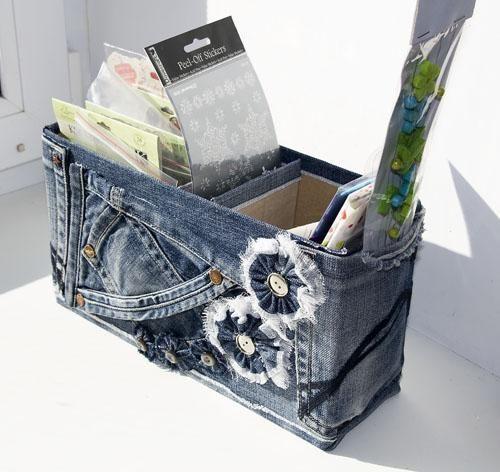 recyclen en ambachten, het maken van meubels en woonaccessoires met jeans