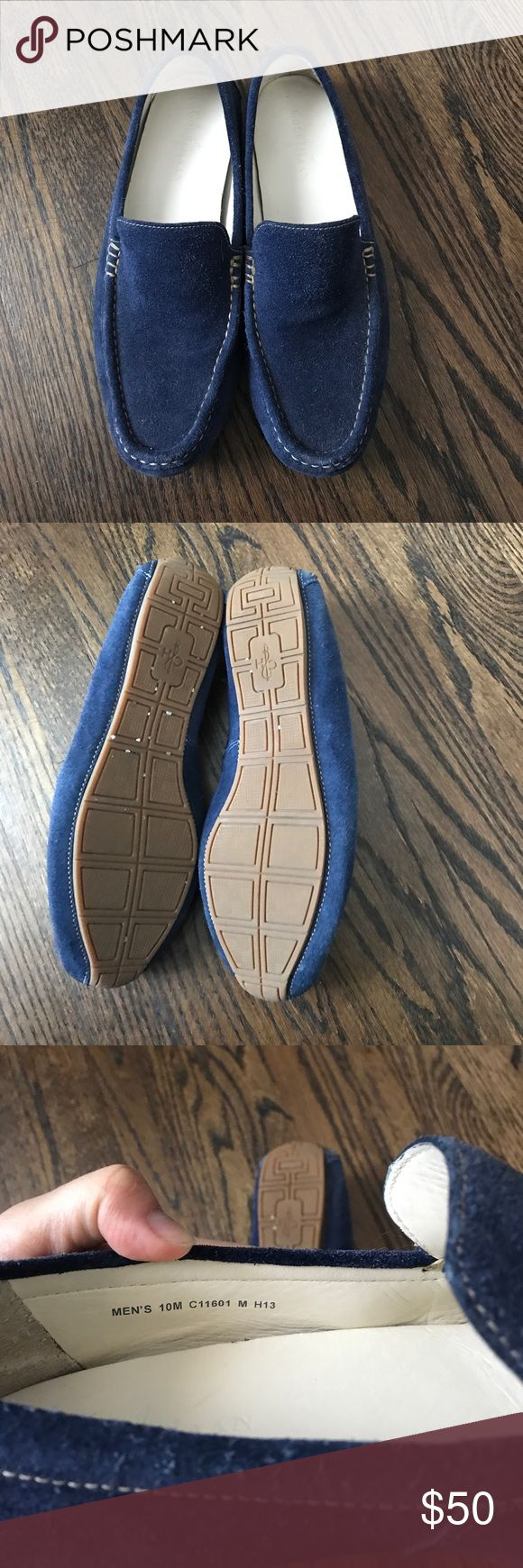 Cole Haan Blue suede Slip On drivers Gorgeous great condition navy blue suede slip on (driving moccasins) from Cole Haan. These have barely been worn and in great condition. Have had a waterproofing suede protectant applied. Cole Haan Shoes Loafers & Slip-Ons