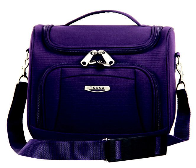 Tosca Gold Ultralight Vanity Case @ R359.00  Code: 793LL14 Weight: 0.70kg  Dimensions: 30 x 26 x 18cm  Features: Round Zip Opening, Front Pocket, Carry Handle, Shoulder Sling Available Colours: Black, Purple  #LuggageLadies #Travel #Tosca #Ultralight