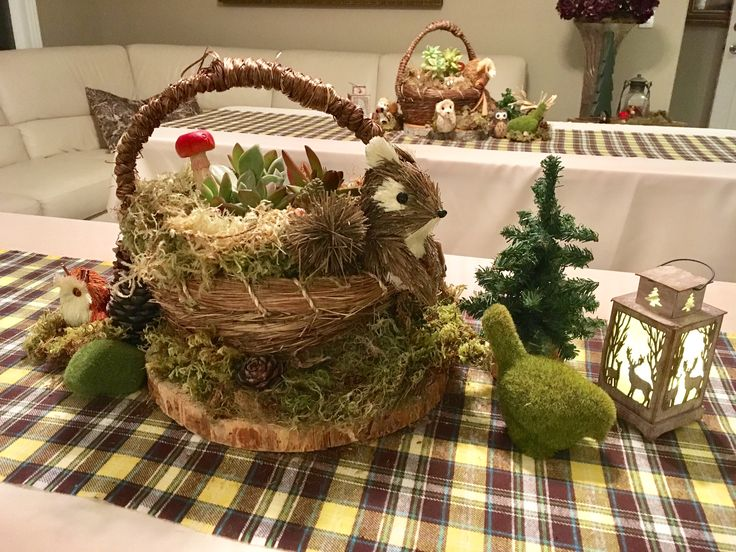 Woodland/Camping Theme Baby Shower - Custom Tablecloths, Flannel Runners, Centerpieces