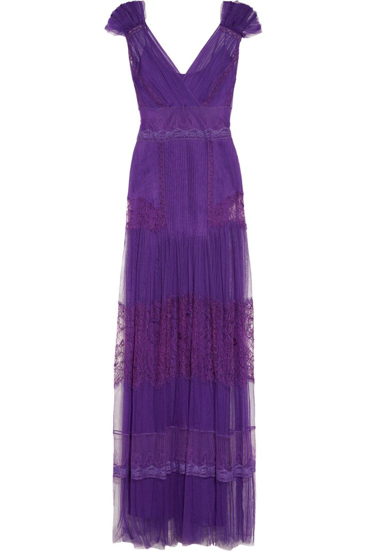 Alberta Ferretti  Lace-appliquéd silk-tulle gown