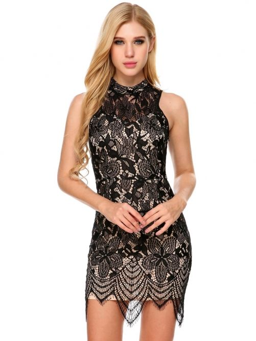 49781f2d10b Black Sleeveless Backless Floral Lace Dress in 2019 | Dresses ...