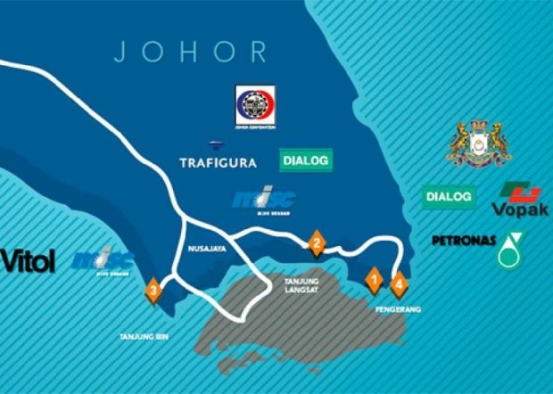 An Iskandar Malaysia map showing Pengerang at the southeastern tip of Johor. Muhibbah Engineering has secured a RM116 million contract for a Petronas project in Pengerang. — File pic