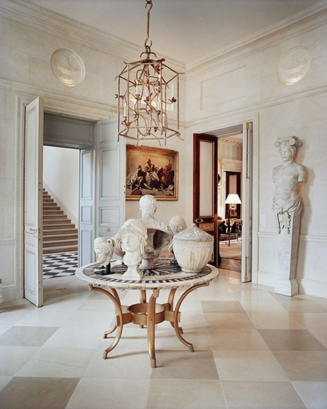 """To bring the interiors of a landmarked 18th-century Paris hôtel particulier back to what he calls """"the spirit of the original,"""" Francois Catroux had to undo a 19th-century intervention — and get permission from the Bureau de la protection des monuments historiques to do so. """"I transformed the inside completely to return to the purity of the original style,"""" he says. """"All the architecture you see is new."""""""