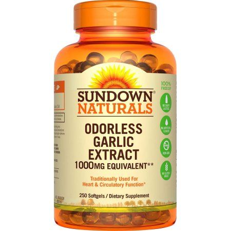 Sundown Naturals Dietary Supplement Odorless Garlic 1000mg - 250 CT, Multicolor