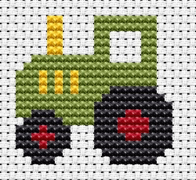 Easy Peasy Tractor cross stitch kit from Fat Cat Cross Stitch. Ideal for beginners however please ensure young stitchers are supervised. Finished size approx 8.4cm x 8cm. Kit contains 6ct Binca white aida fabric, stranded embroidery cotton, needle, colour chart and instructions. A brand new kit will be sent directly to you by Fat Cat Cross Stitch - usually within 2-4 working days © Fat Cat Cross Stitch
