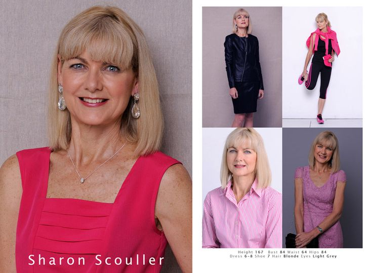 Modelling headshot and casting comp card for over 40s woman, casual, coporate and fitness looks. Photographed by Kent Johnson.