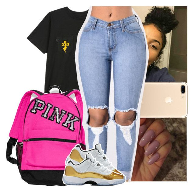 """She say she like how I be swaggin"" by theyknowtyy ❤ liked on Polyvore featuring HUF and Victoria's Secret"