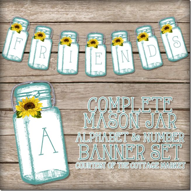 Mason Jar free Printables for Banners, invitations, party decor | Mason Jar Crafts Love feature